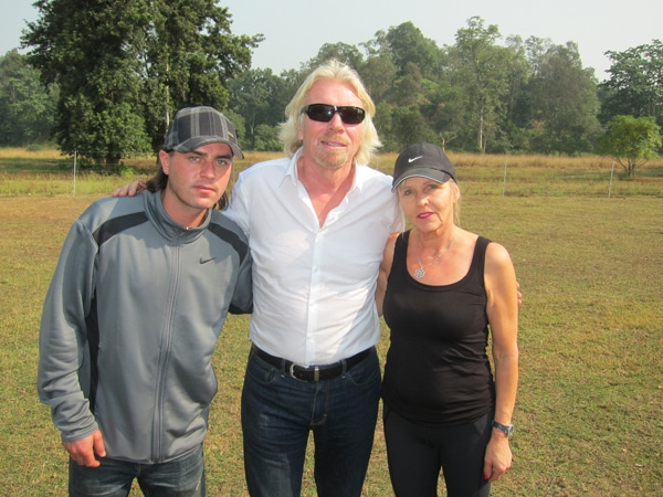André Bharti, Richard Branson and Hannele Bharti in the field